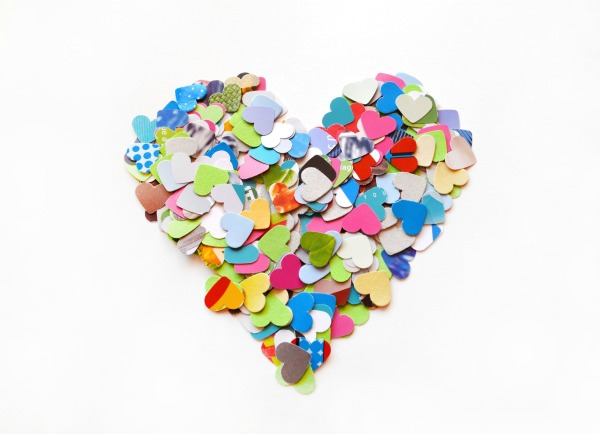 300 colorful little hearts punches - confetti