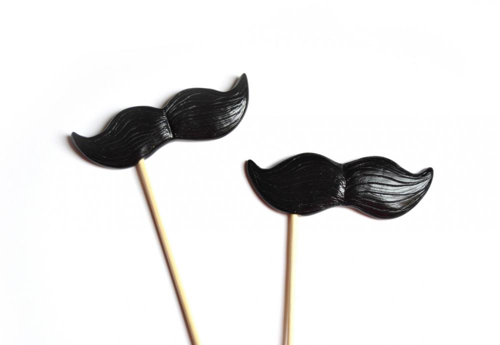 Black Mustache on a Stick set of 2 - ironic gift idea