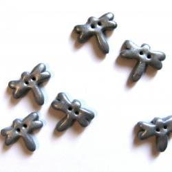 6 dragonflies buttons in silver polymer clay  