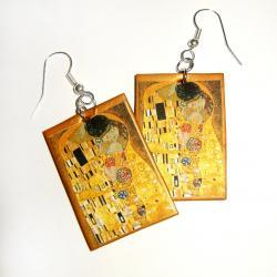 Klimt&#039;s The Kiss Earrings for art lovers  