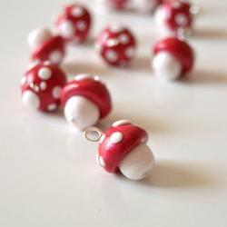 Red and white mushrooms in polymer clay, 10 handmade pendants