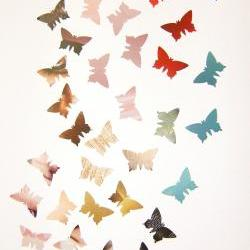 300 colorful butterflies, cardboard punches