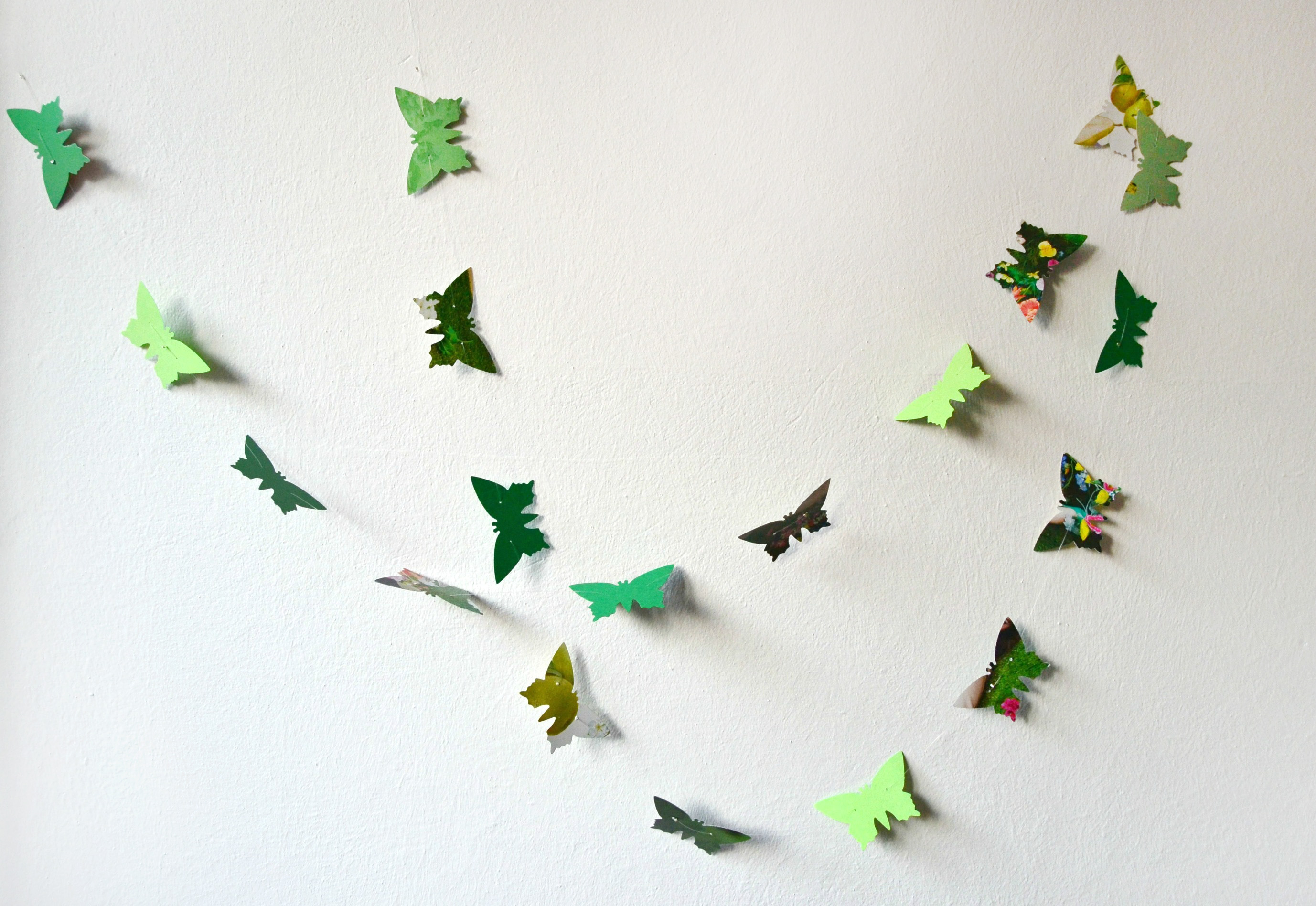 Green Paper Butterflies Garland - Wall Decor on Luulla
